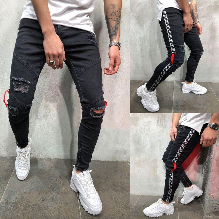Fashion-Mens Black 19ss Байкер Джинсы Разорванный Проблемная весна лето карандаш штаны Hombres Жан Pantalones