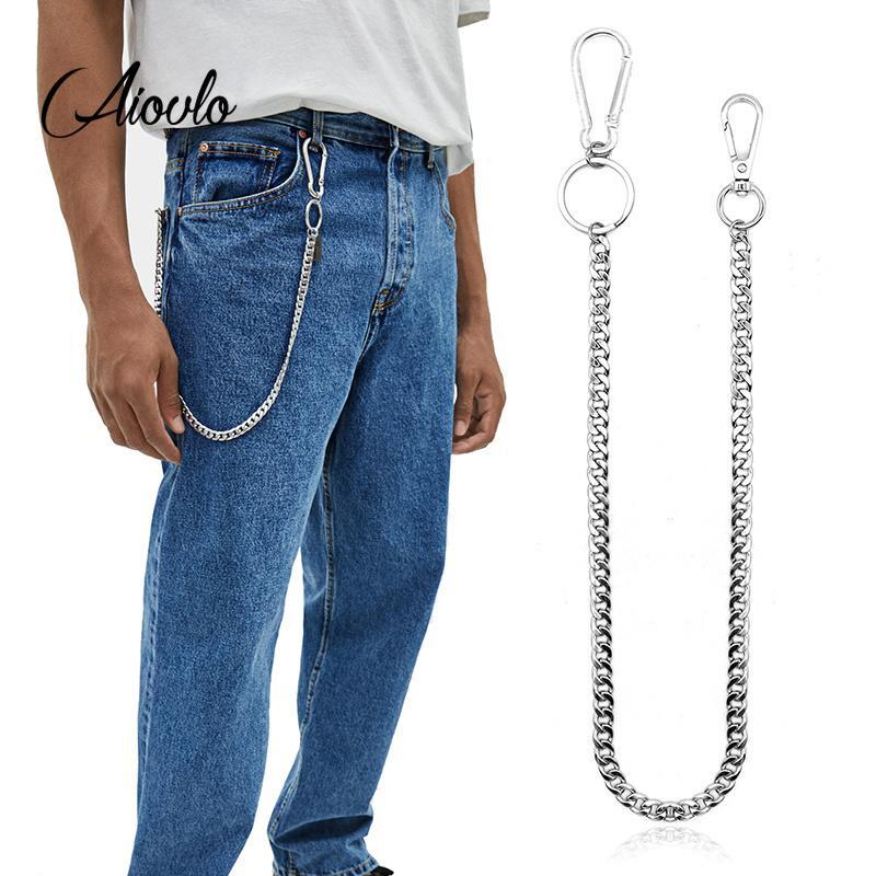 45 cm acero inoxidable hip-hop de moda cinturón llavero pantalón pantalones masculinos pantalones vaqueros punk billetera cadena regalo