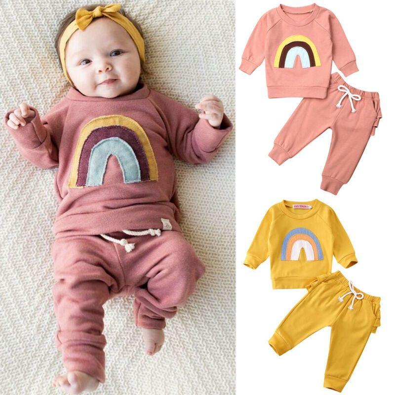 Yenidoğan Bebek Bebek Erkek Kız Gökkuşağı Kazak Üst + Pantolon Çocuk Kıyafetleri Setleri 1021
