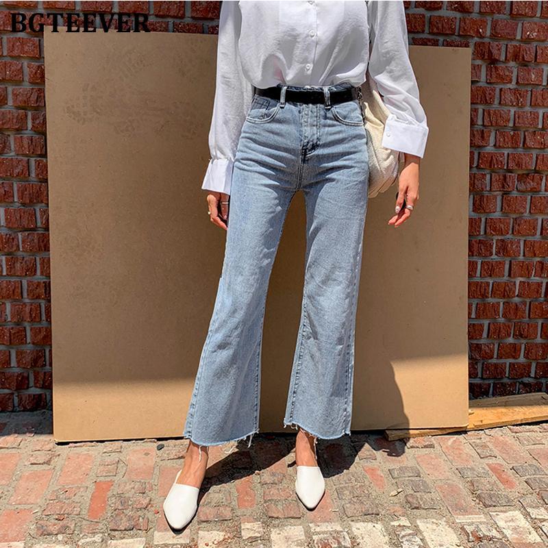 BGTEEVER Streetwear Denim bouton bleu Fly en vrac Wide Leg Denim Jeans Femme taille haute Tassel Vintage Femmes Jeans Pantalons 200930