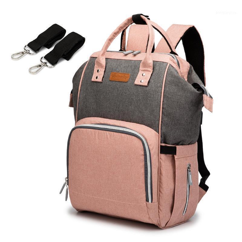 Nuova borsa per pannolini di maternità USB Mommy pannolini per la cura del bambino Backpack Moda Travel Nursing Backpacks per mamma Passeggino multifunzione Borse1