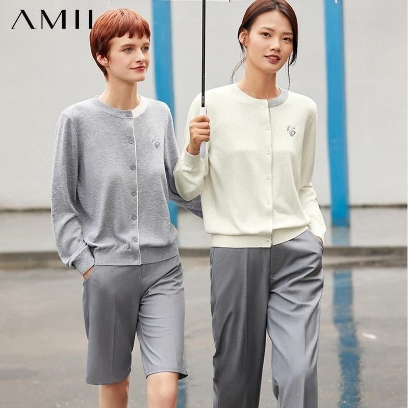 AMII Минимализм осень мода женские пальто вышивка Oneck женщин трикотажные пальто привязанные однобортные женские топы 12020390 Y200910