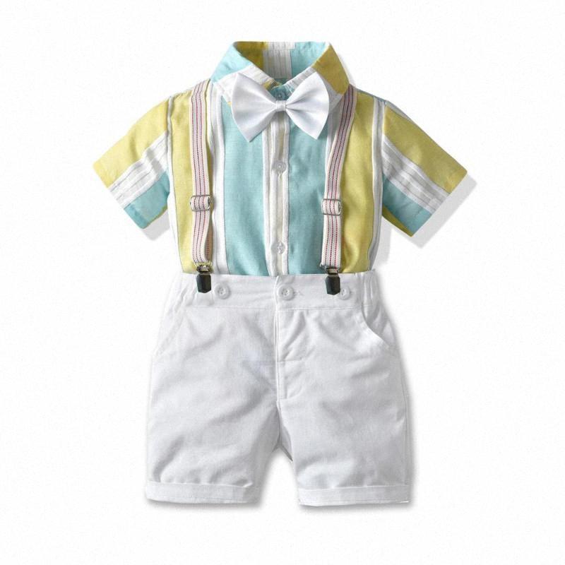 Vestiti dei ragazzi 1-6 anni manica corta bambini abbigliamento camicia a righe Pantaloncini bambini vestiti dei vestiti del bambino che Imposta Giallo VCMG #
