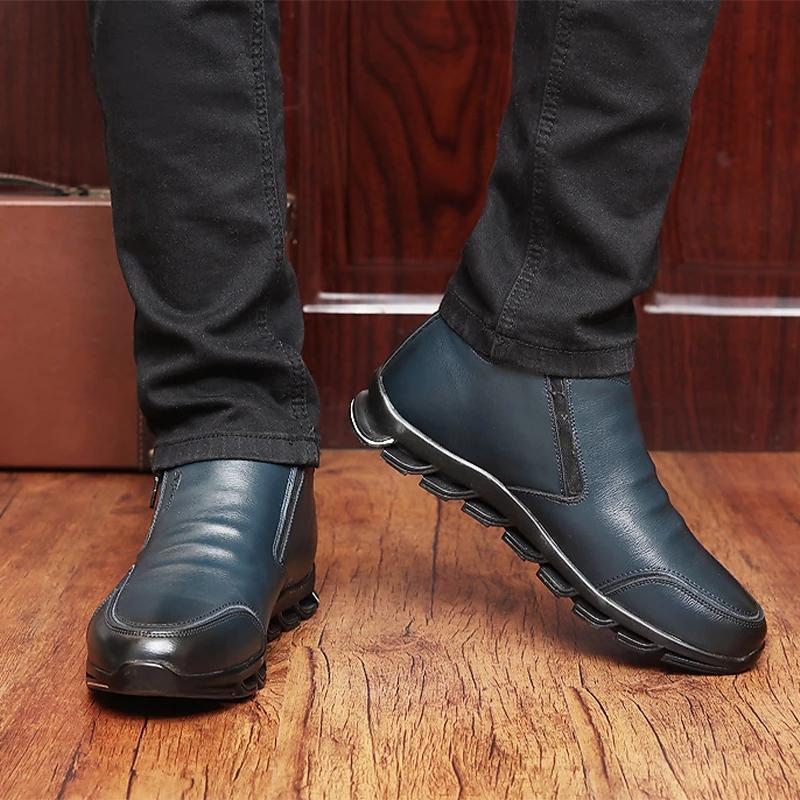 мужчины обувь зимняя мода молнии повседневная обувь мужская кожа открытый плюшевых прогреть все соответствующие кроссовки chaussure Homme