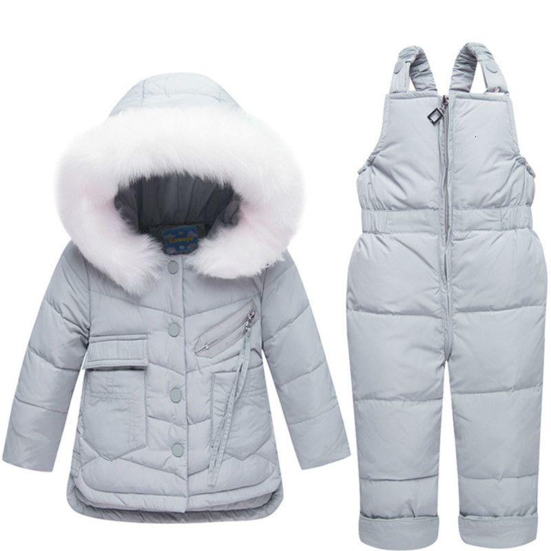 Enfants d'hiver Vêtements pour enfants Costume Habineige filles garçon Manteau d'extérieur + Romper Vêtements Set chaud Vestes enfants Salopette