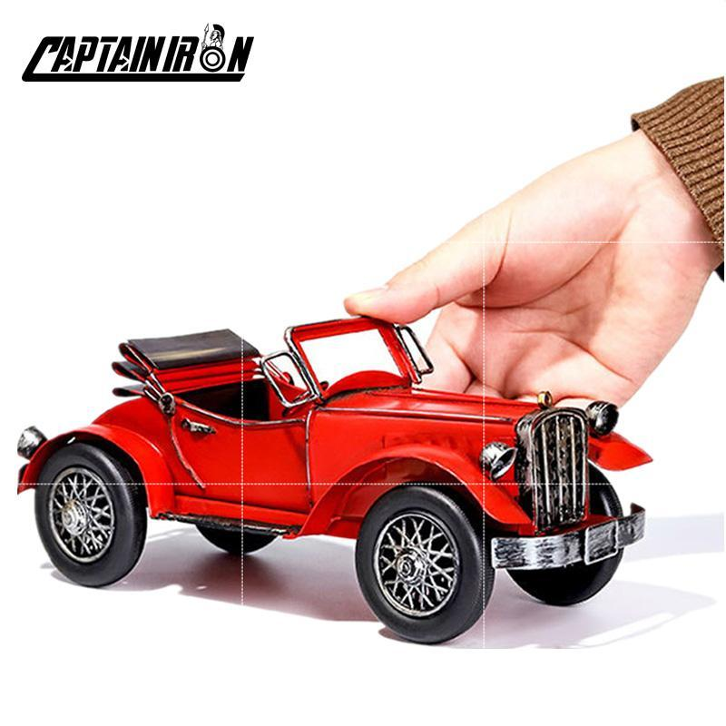 CAPTAINIRON Classic Cars Model Iron Retro Car Figurines American Italy German Car Ornament Metal Crafts Vintage Home Decor Gifts