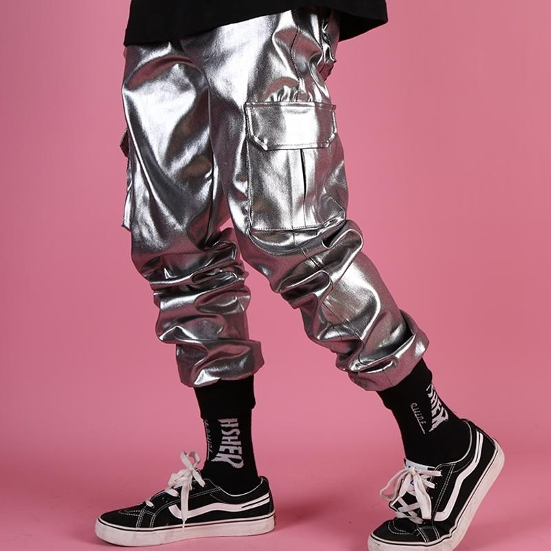 Casual Leather Harem Pant Male Streetwear Hip Hop Punk Silver Multi Pocket Pantalón Pantalón Pantalón Pantalón DJ cantante pantalón Hombres Y200114