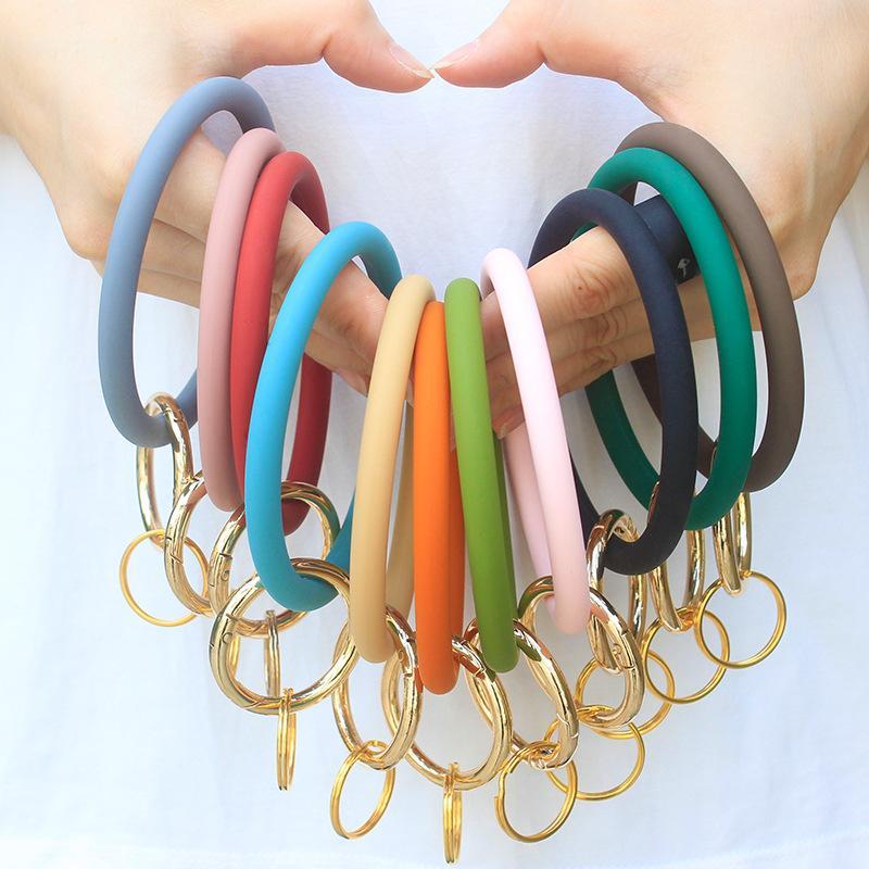 11 цветов Силиконовые брелок браслет Популярные наручные моды Arm браслет ювелирных изделий Большой Застежка круглый Ключевые Наручный ремень Браслеты Браслеты