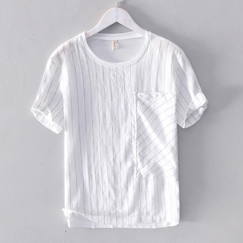 2021 мужская бельневая сшитая полосатая футболка с короткими рукавами сплошной лето белая футболка мужская мода топы футболки мужчина Camisa Chemise