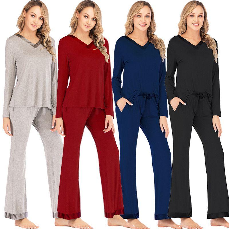 Modal Yuvarlak Boyun Pijama kadın Pijama Set Sonbahar Kış Pijama Katı Ev Giysileri Kadınlar Için Sexy Lingerie W1225