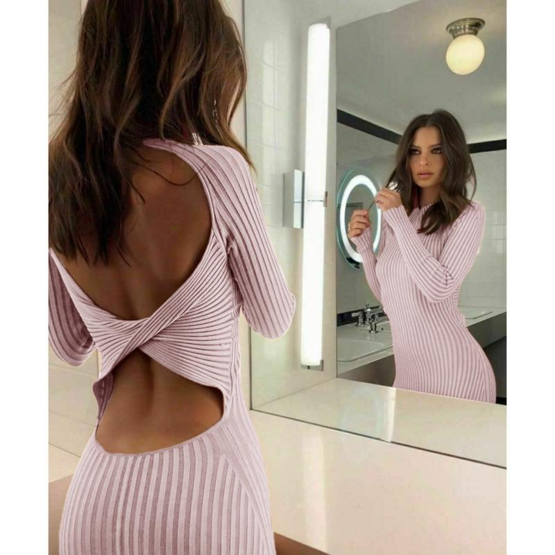 PFFLook Knitted O Neck Elegant Sexy Long Dress Bodycon Backless Hollow Out Autumn Winter Dress 2020 Slim Evening Party Dresses