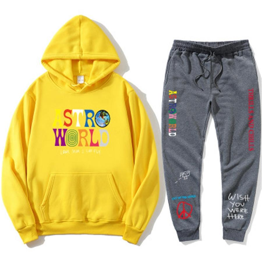 Conjuntos Fatos Homens Outono Hoodies Inverno capuz com cordão Outfit Sportswear 2020 Homens Ternos pulôver 2 1Pcs Set Casual # 408