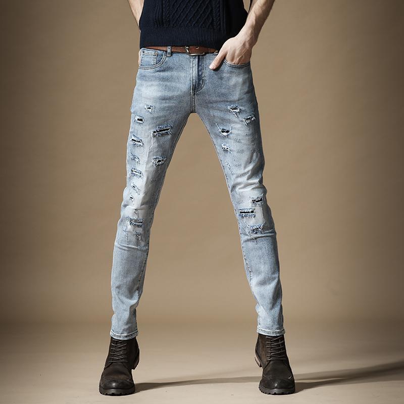 Мужские джинсы разорванные патча мужчины Летние тонкие подходят карандашные брюки уличные голубые проблемные джинсовые брюки