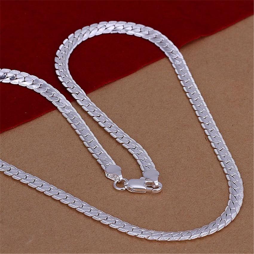 Moda al por mayor Silver 5mm Cadena de serpientes Mujeres Hombres Noble Collar Moda Tendencias Joyas Regalos Color de plata N130 H SQCRJS