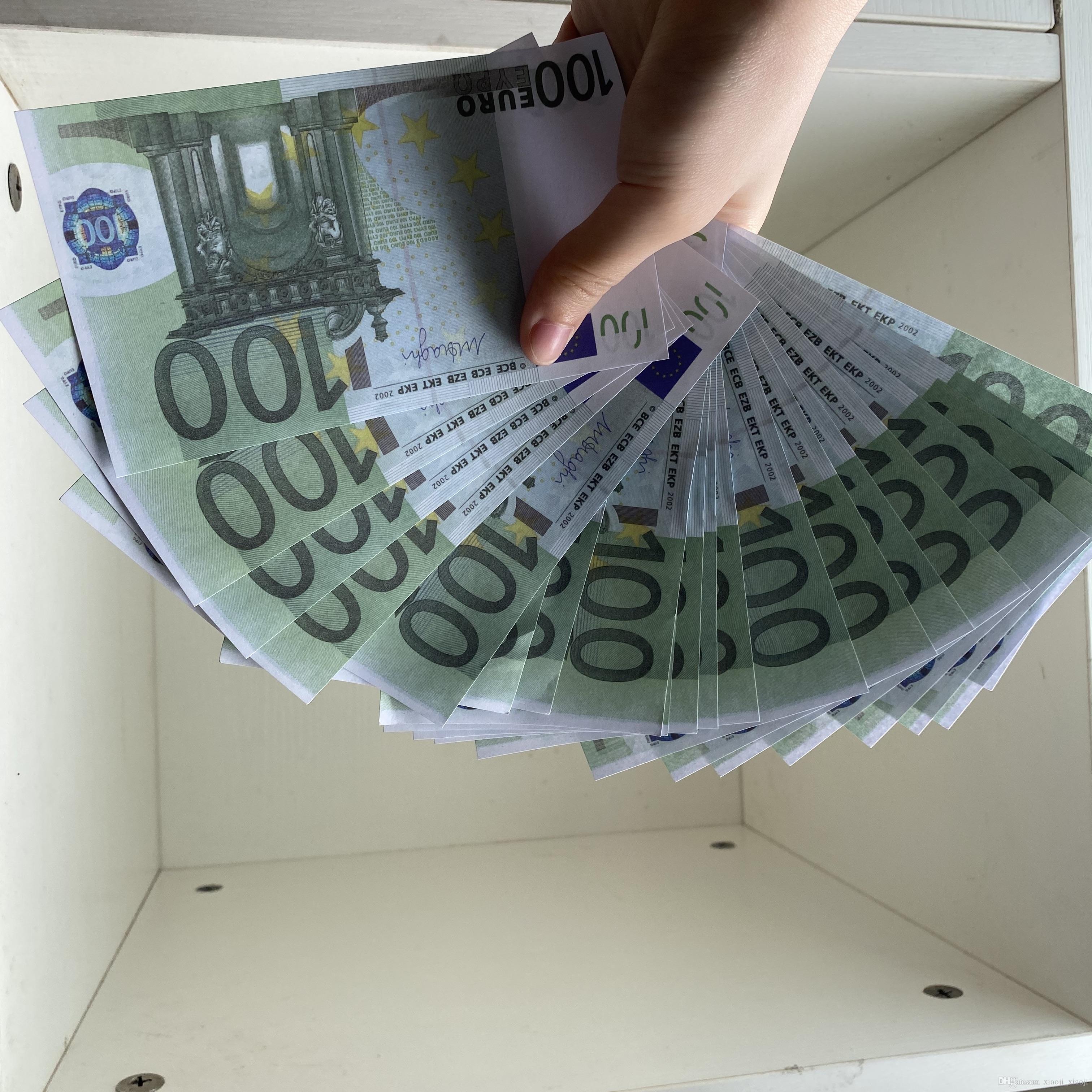 Famille de l'argent réaliste 100pcs / Pack Toy237 Jeu Prop Prop US / Euro / Dollar Papier ou Banknote Enfants Copie le plus CIPJC