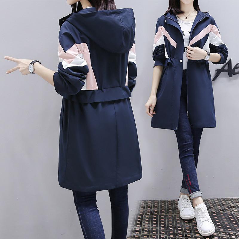 2021 Nouvelle mode Trenchers à manches longues à manches longues Printemps Femme Vêtements d'automne Casual Capuche à capuche longue Breaker Femme Overcoats M243
