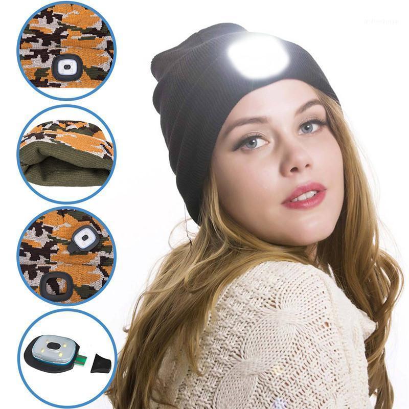 Neue LED Beleuchtete Mütze Hip Hop Männer Frauen Strick Hut Jagd Camping Laufen Hut Weihnachtsgeschenke für Männer und Frauen Dropship1