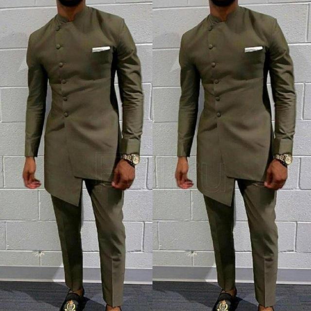 Мужские костюмы Blazers Винтажная африканская одежда для мужчин Длинные свадебные костюмы наряд жениха тонкий подходящий мужской пальто куртка + брюки