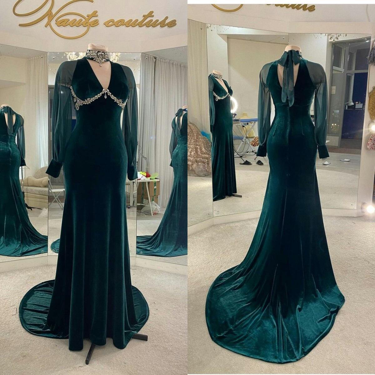 Dark Green Velvet Evening Dresses for Women High Collar Crystal Mermaid Prom Dress Party Wear Formal Robe De Soirée Long Sleeve