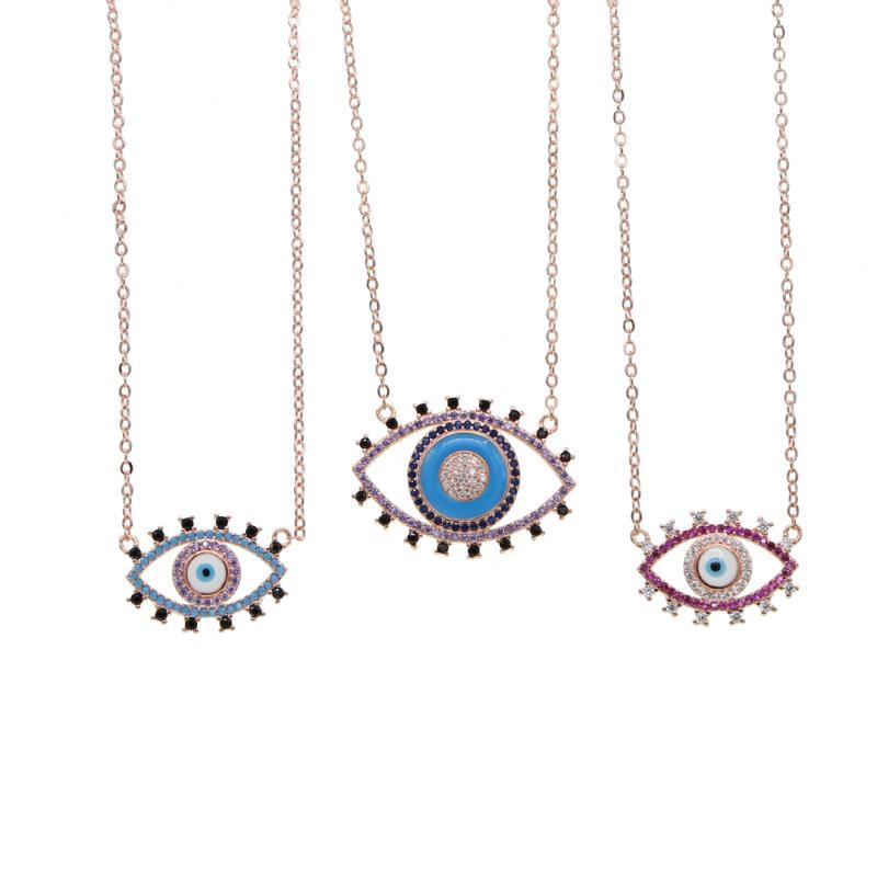 Promotion Collaires Collier Maxi Lucky Yeux Collier Rose Big Braid EnaMel Zirconia Evil Eye Raskink pour femmes bijoux