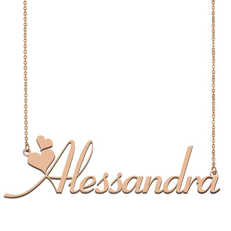 Alessandra Custom Name Halskette Personalisieren Anhänger für Männer Jungen Geburtstags-Geschenk Beste-Freunde-Schmucksachen 18k Gold überzogener Edelstahl