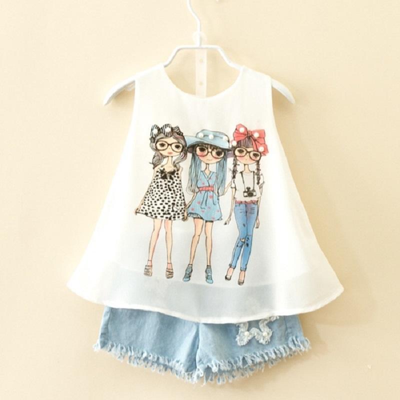 2020 costume marque d'été pour les enfants filles en mousseline de soie bébé mode gilet short ensemble vêtements de fille en bas âge 3 8 10 années de vêtements enfants X0923