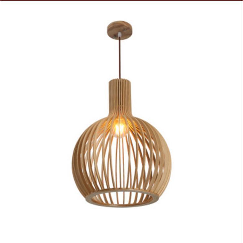 Antique solid wood birdcage chandelier creative simple wooden birdcage lighting bar counter living room tatami birdcage lamps