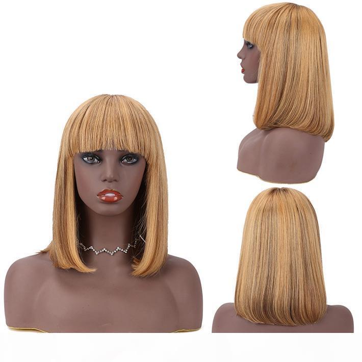 Coloreado 4 27 Despliegue Bob Wig peruano recto pixie corte humano pelo no encaje peluca con bang para mujeres negras resaltar marrón rubio peluca corta
