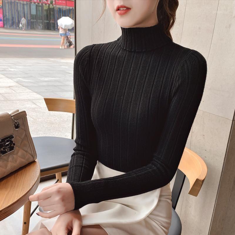 Automne Elastique à manches longues Pulls à manches féminines pull-oeuvre Turtleneck Femmes Pullovers Jumper Streetwear Tops Noir Red1