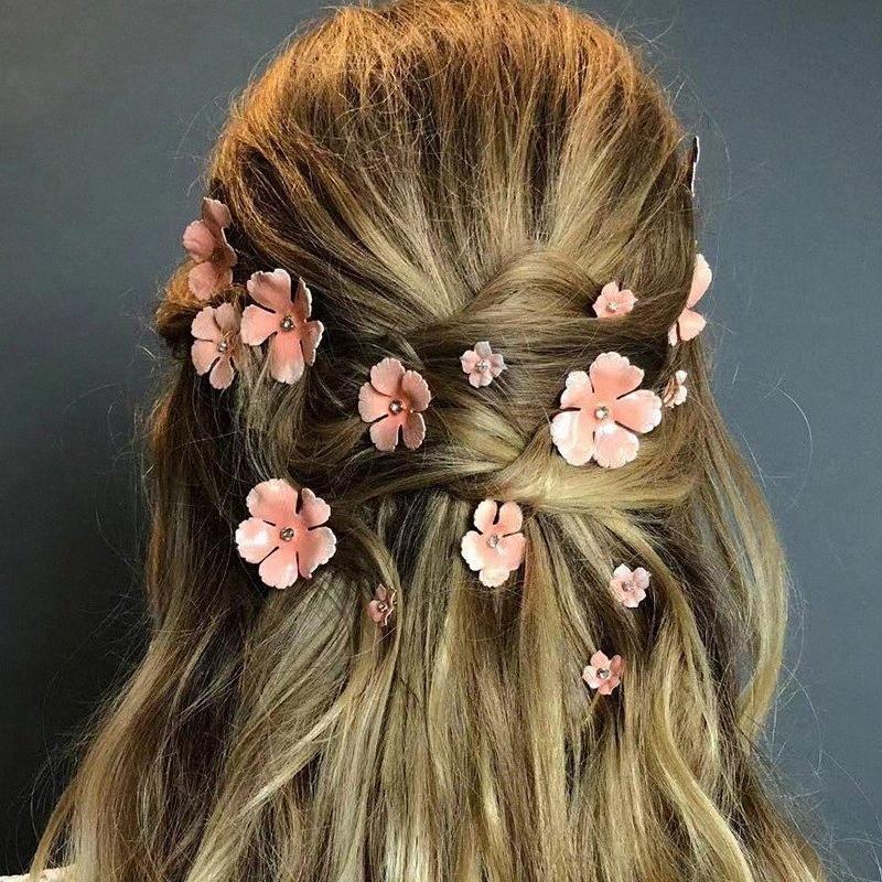 Клипы 5шт / Set Розовый Желтый Белый цветок волос девушки Шпильки Bridal головной убор Rhinestone Свадебные аксессуары для волос Head Jewelry mLfL #
