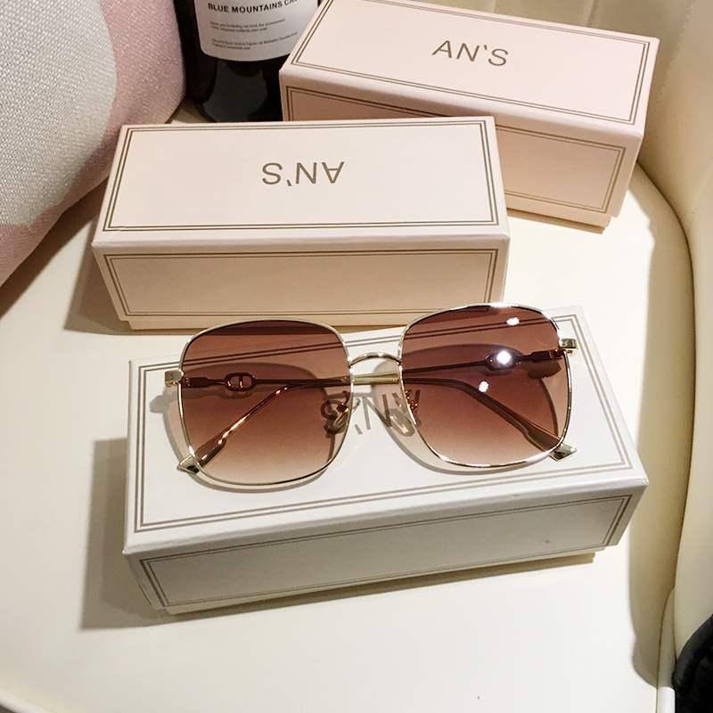 2020 Tyrannosaurus glasses box big thin 2020 new fashion men and women street photography ins round face Brown Sunglasses vip