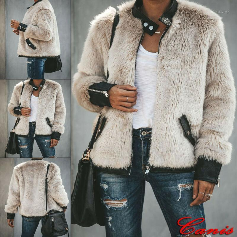 Winter Plush Stitching Leather Jacket Plus Size Womens Winter Teddy Bear Fleece Fur Fluffy Coat ZIipper Jackets Jumper Outwear1
