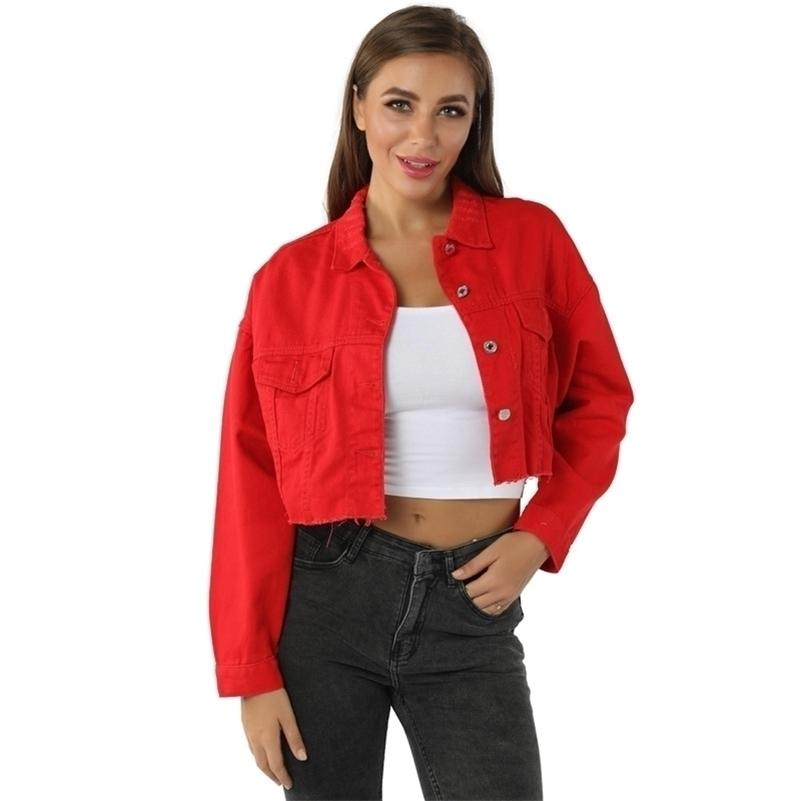 Black Red Jean Denim Veste Outwear Turn-Down-Collier Femmes manteaux courts Loose Femelle Blue Feminine Tissu à la mode 201021
