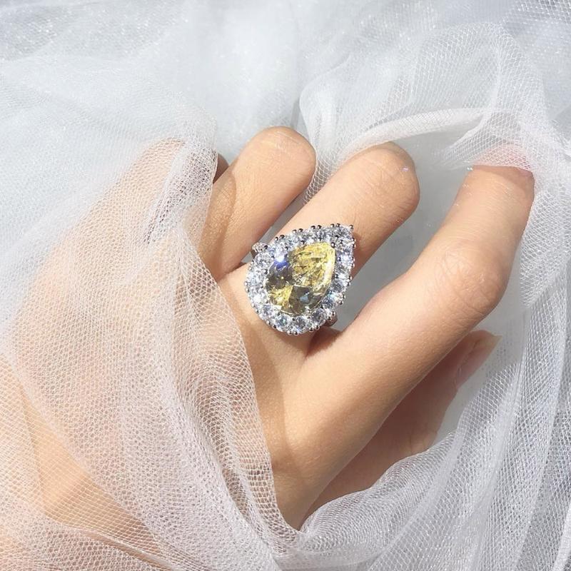 2020 meistverkauften Luxus-Schmuck Zirkonia 5 Reihen KubikZircon Versprechen Frauen Hochzeit Drehbare Ring für Geliebte