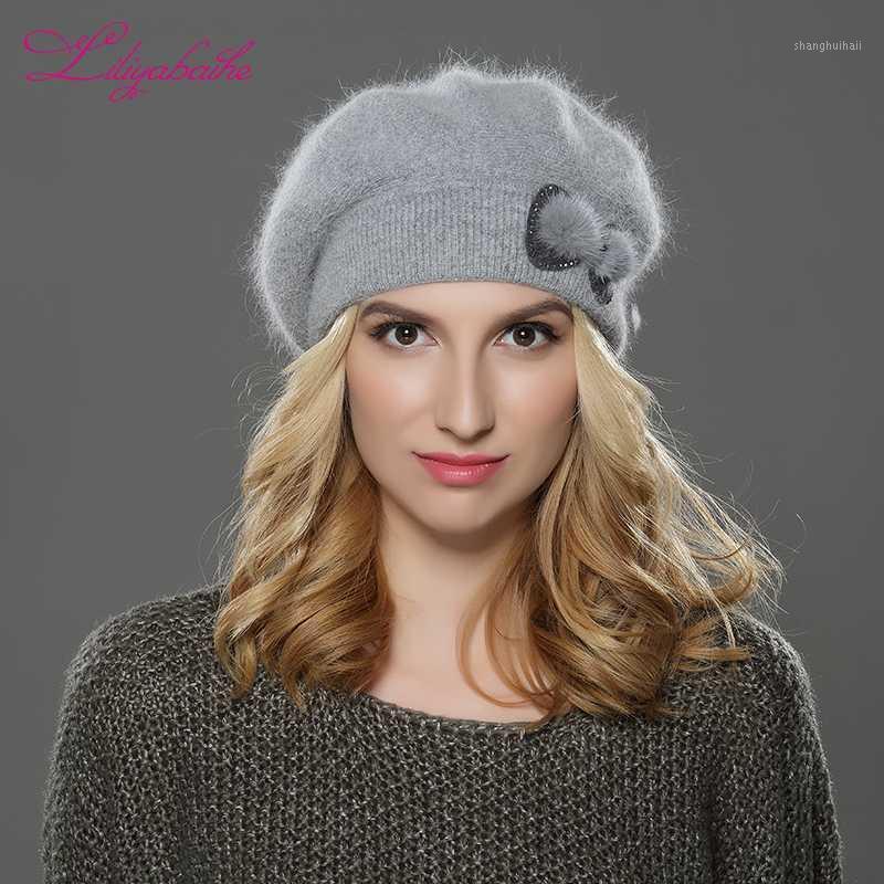 Liliyabaihe Новые зимние женщины берета шляпа вязаная шерсть ангора берет простая и стильная норка цветок украшения крышки двойной теплая шляпа1