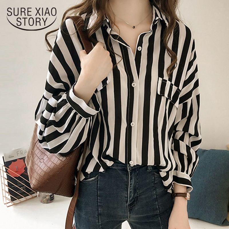 Plus size donne camicetta camicetta da donna top e camicette moda elegante camicetta donna camicia a righe camicia a maniche lunghe camicie da donna 1728 50 201201