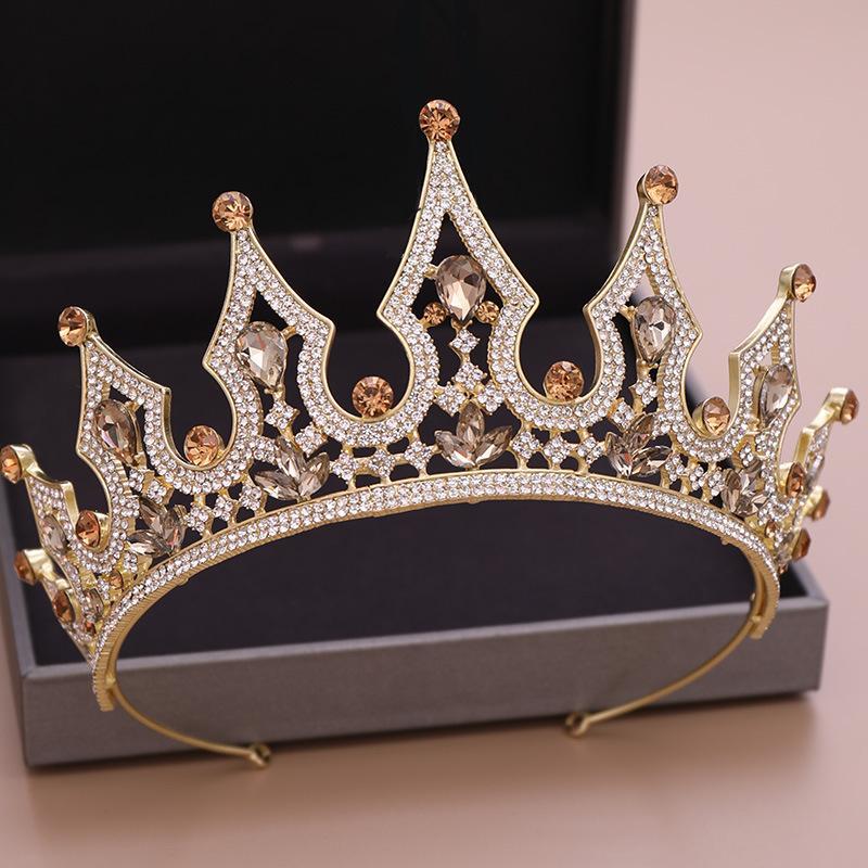 로즈 골드 신부 왕관 로얄 라인 석 크리스탈 실버 결혼식 크라운 크리스탈 베일 머리띠 머리 액세서리 파티 Tiaras 바로크 세련