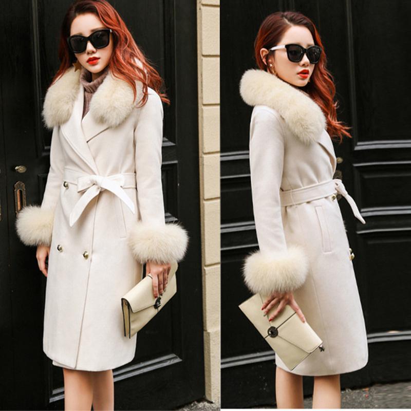 Donna Inverno nuovo 2020 di alta qualità reale pelliccia colletto a maniche lunghe cucito a mano in pile cachemire cappotto lungo femminile Cappotto