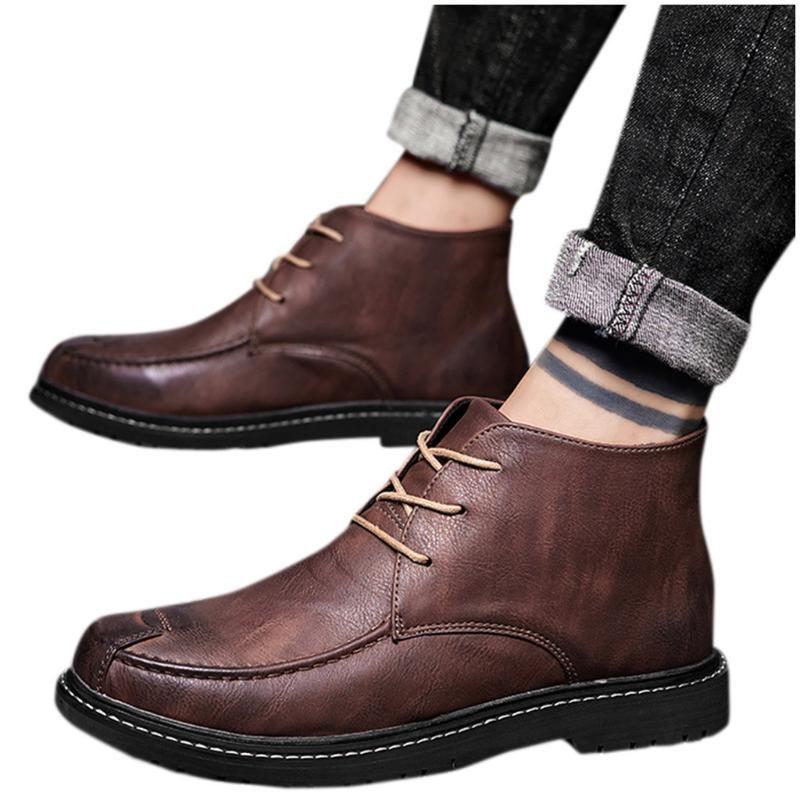 الثلوج في فصل الشتاء التمهيد رجال جلدية شقة جولة تو أحذية عارضة منخفضة الكعب العالي عدم الانزلاق الدانتيل متابعة الكاحل الجوارب الصلبة اللون بوتاس HOMBRE