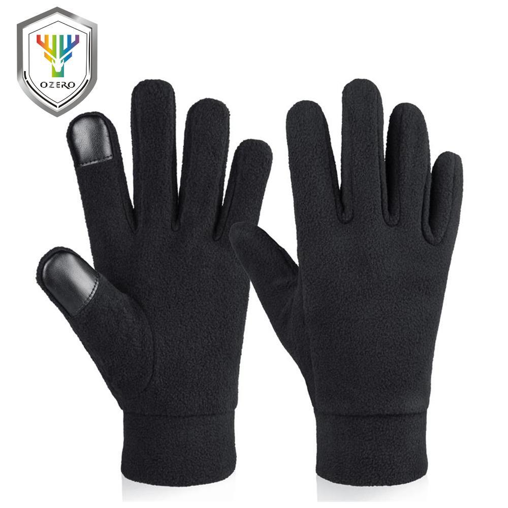 OZERO Windproof Sıcak Eldivenler Kış Eldiven Gömlekleri Erkek Soğuk Havada Termal Polar Polar Eller Isıtıcı ve Kadın Siyah Gri