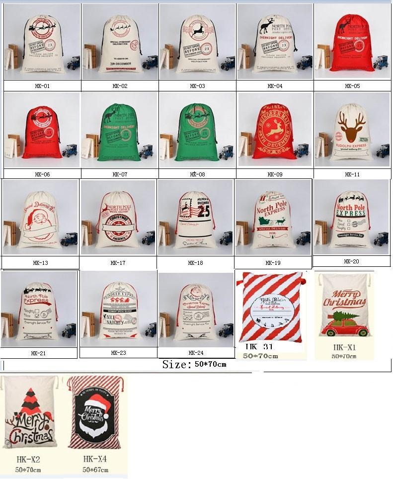 Presente do Dia das Bruxas do Natal Bolsa de Nova bolsa para compras Grande armazenamento de Santa renas cordão festa de Natal saco de doces de casamento 30 estilos HH7-1291