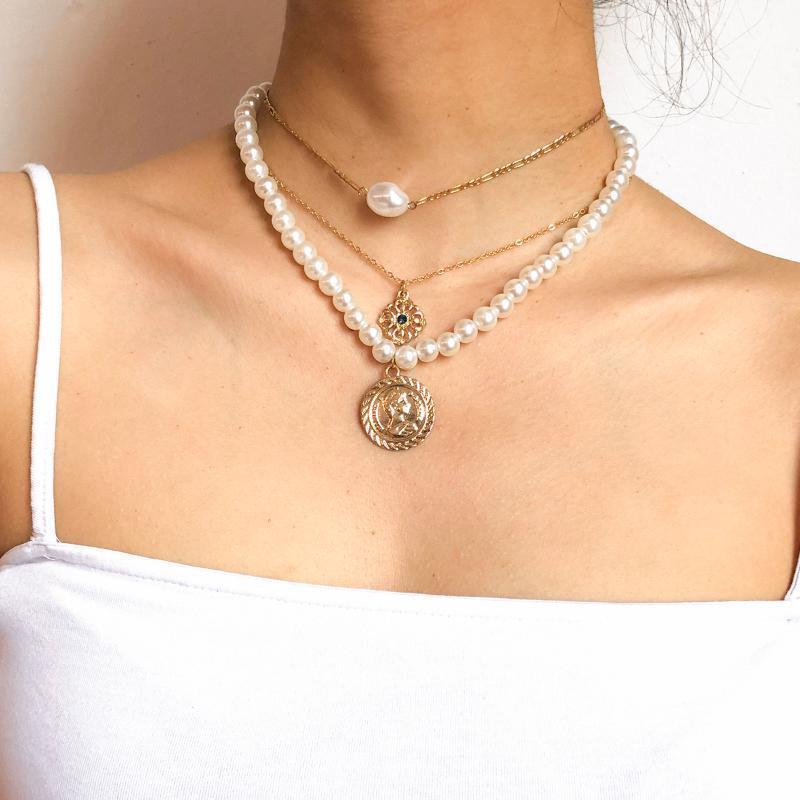 Purui 3pcs / Set Collana perla Boemia Baroque Pearl Strationato Moneta Pedant Gothic Gold Collana a catena di colore oro per le donne Collare girocollo