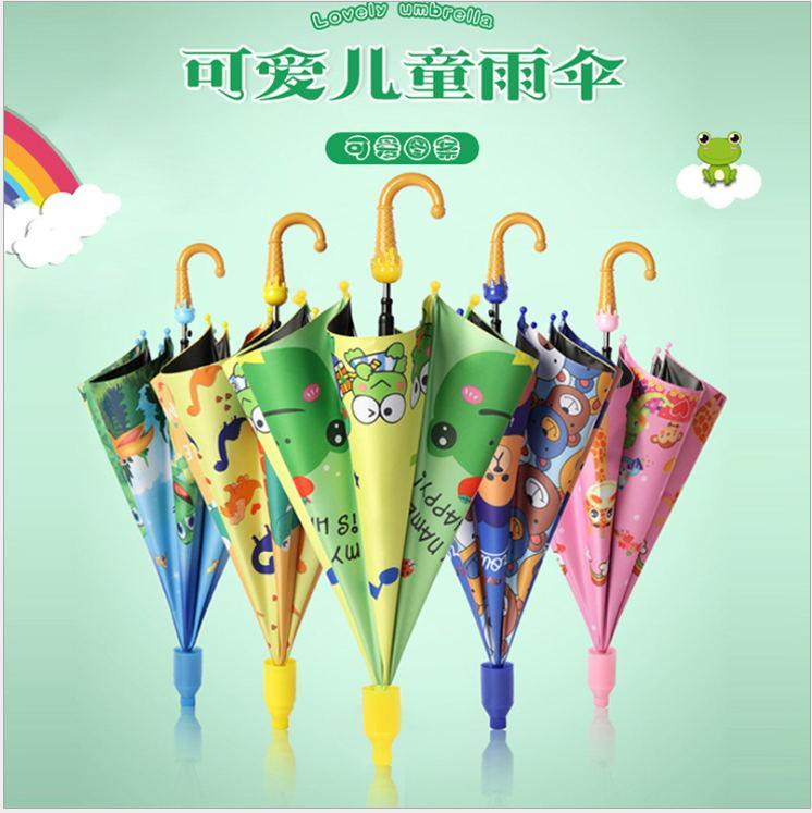 capa impermeável automáticas crianças alça longa guarda-chuva logotipo personalizado de publicidade de impressão guarda-chuva meninos bonitos dos desenhos animados e meninas do guarda-chuva BATC