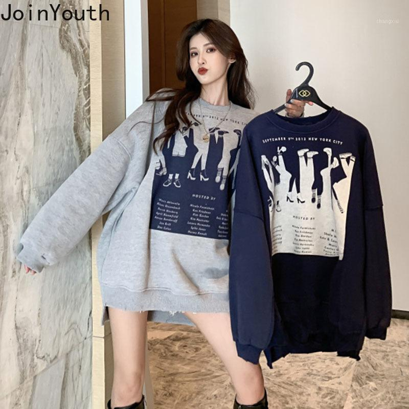 Jointhouth Женщина Одежда для одежды Print Full Long Ropa Mujer 2020 новая весенняя толстовка свободно дикий корейский мода теплый женский пуловер 2611