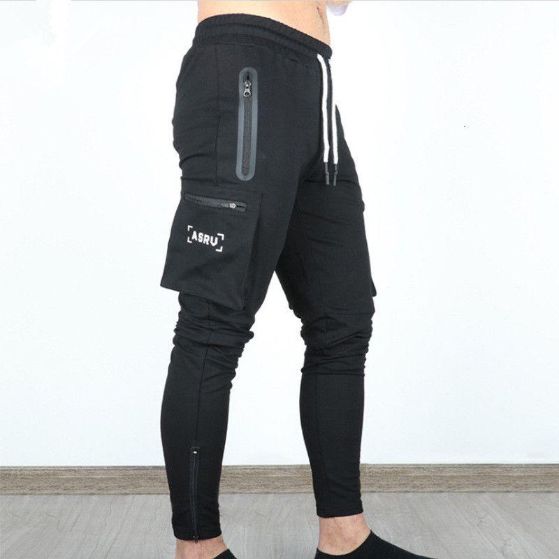 ASRV 가을 새로운 멀티 포켓 위장화물 바지 남성용 조깅하는 검은 마른 체형 트랙 바지 패션 휘트니스 스웨트 팬츠