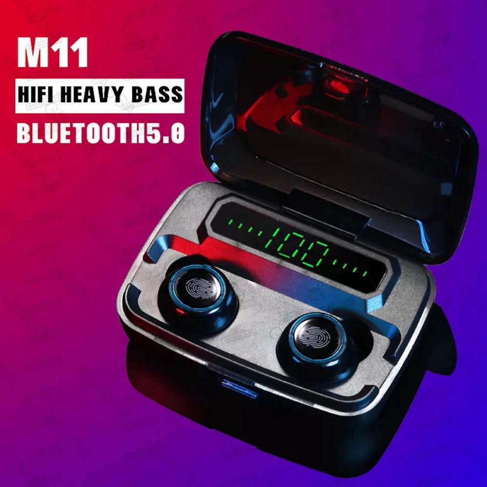 M11 TWS سماعات بلوتوث لاسلكية V5.0 IPX7 ماء سماعات 3600mAh قوة البنك مع شاشة LED الرقمية Binaural HD دعوة آيفون 11