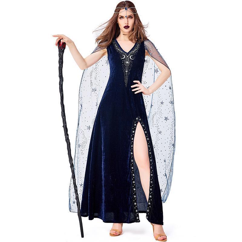 Costume Accessori Halloween Night Sky Divinazione Blu Starry Dea Dea Elegante Abiti Carnival Party Stage Performance Cosplay Mago