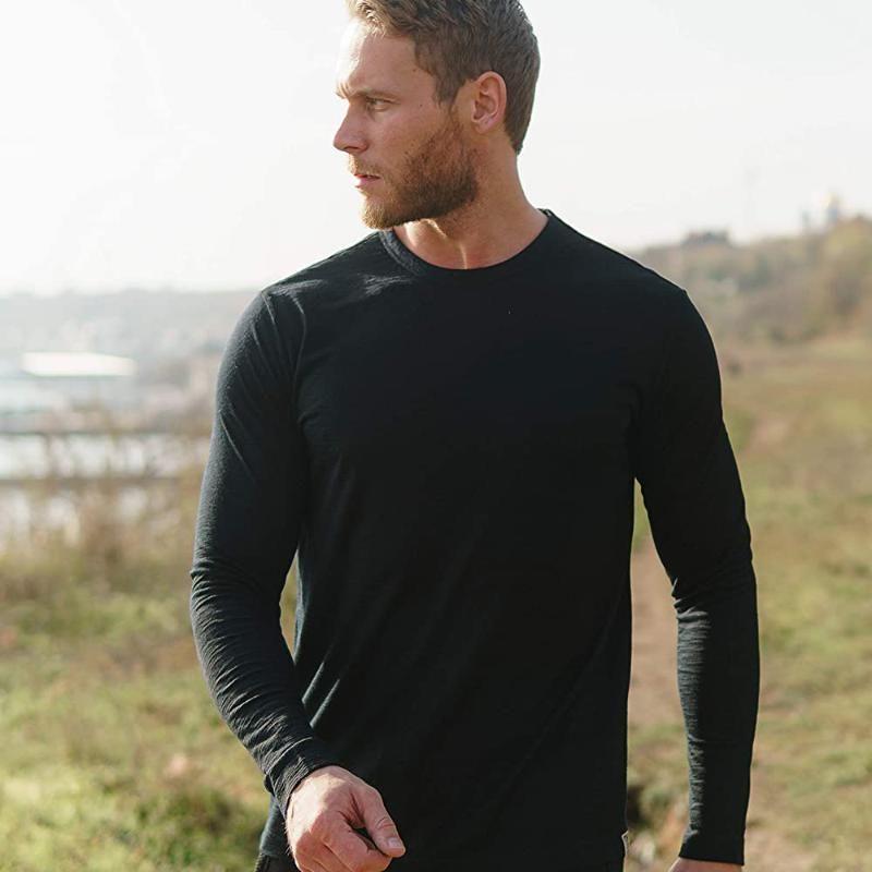 2020 Hombres de 100% lana merino térmica de manga larga camiseta Base Laye lana merino camiseta 240g de Capilaridad anti-olor respirable tamaño S-XXL