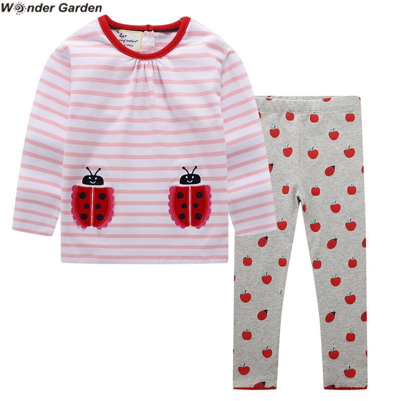 2020 Vendita calda Nuovo Wonder Garden Garden Autunno New Style Bambini Abiti per bambini Abiti da ragazze a maniche lunghe T-shirt + Pantaloni Set