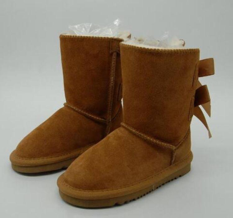 Libero di trasporto scherza Bailey 2 Archi Stivali bambini del cuoio genuino di Snow Boots Solid Botas de Nieve ragazze di inverno Calzature ragazze del bambino Stivali 89